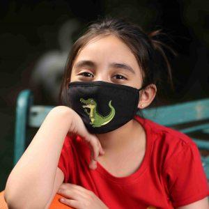 Cotton Hand Printed Kids Face Mask (Crocodile)